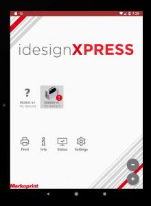 Screenshot of Markoprint idesignxpress inkjet software mobile app